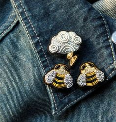 bumblebee storm cloud hand breaded brooch grouping