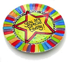 Custom size or You are Special Today Plate Personalized ceramic rainbow dish by Artzfolk Rainbow Theme, Rainbow Art, Fancy Sprinkles, Color Me Mine, Birthday Plate, Paint Your Own Pottery, Family Presents, Scandinavian Folk Art, Fire Art