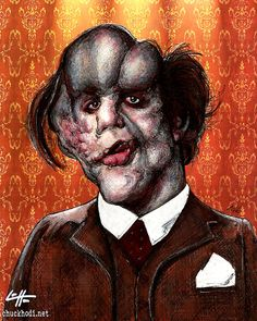 Joseph Merrick  High quality 8x10 print cardstock, semi gloss.  They are all signed and come in a plastic slip with a cardboard backing.  I do not print these from home, I go to a professional printer.  The original is 8x10, made with ink, charcoal and pastels on wallpaper background.