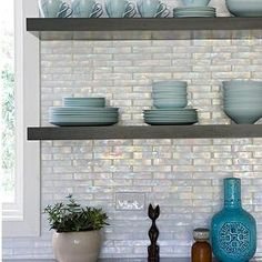 iridescent tile kitchen backsplash