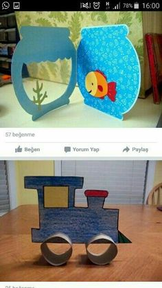 This little fish bowl could be made of felt and the fish could be changed out along with little castles and sea weeds.This says: Kinder / Basteln Projects For Kids, Diy For Kids, Craft Projects, Crafts For Kids, Fish Crafts, Diy And Crafts, Arts And Crafts, Diy Paper, Paper Crafting