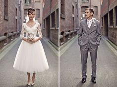 Photo: bride and groom. Before wedding Tea Length Wedding Dress, Tea Length Dresses, Wedding Dresses, Wedding Attire, Bridesmaid Dresses, Melbourne Wedding, Portraits, Before Wedding, Vintage Wedding Invitations