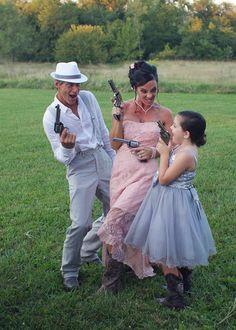 Country wedding, vintage wedding, rustic wedding, guns, pink wedding dress