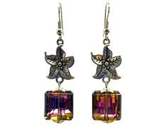 Use coupon 10OFFTLBCJ for 10%OFF on $10.00 or more Use coupon 20OFFTLBCJ for 20%OFF on $20.00 or more --- Free Shipping Jewelry SALE Handmade Beaded Glass Crystal Amethyst Antique Silver Metal Flower Unique Fashion Dangle Earrings (Item # LBE019) by TheLoveBabyCompany on Etsy