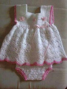white baby girl crochet dress with diaper cover Baby Girl Crochet, Crochet Baby Clothes, Crochet For Kids, Knit Crochet, Crochet Baby Dresses, Crochet Baby Dress Pattern, Baby Patterns, Dress Patterns, Crochet Patterns