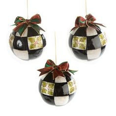 Holly Check Ball Ornaments - Large - Set of 3