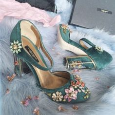 Shoes: teal velvet embellished floral thick heel velvet dolce and gabbana mary jane flowers designer