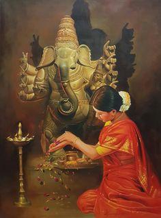 """Ganesha Devotion"" 36 Inches X 48 Inches Oil on Canvas Lord Shiva Painting, Ganesha Painting, Ganesha Art, Lord Ganesha, Shri Ganesh, Clay Ganesha, Durga Puja, Hanuman, Hindu Kunst"