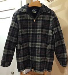 Vintage Woolrich Pile Lined Wool Mens Barn Hunt Coat L Long USA Plaid Zip   eBay
