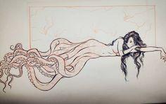#inktober 02 #octopus #sketch #skecthbook #draw #ink #mermaid #creature #fun