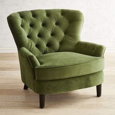 Eliza Forest Velvet Armchair The charming Eliza offers timeless good looks with a classic silhouette draped in hand-upholstered ink velvet with hand-applied nailhead trim. A reversible, coil-spring seat cushion keeps things Green Armchair, Velvet Armchair, Green Chairs, White Chairs, Duck Egg Blue Armchair, Green Velvet Chairs, Tufted Armchair, Modern Armchair, Velvet Furniture