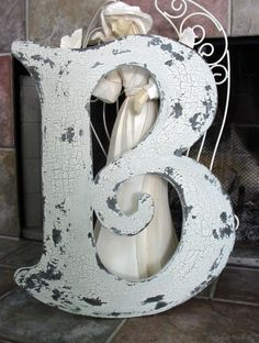 LETTER B 2 ft tall Wedding Guest Book, Save the Date, ANY LETTER A - Z Vintage Style Cut Out Shabby Cottage Signs on Etsy, $54.95