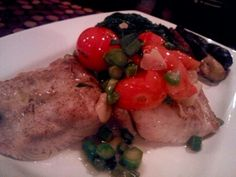 One of the classics- gently grilled mahi mahi, oven roasted cherry tomatoes,  asparagus tips, olive oil, hint of garlic