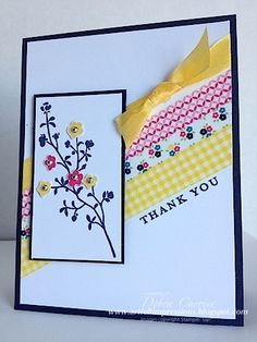 Card Recipe: Stamps- Morning Meadow; Paper- Night of Navy, Whisper White; Ink- Night of Navy, Melon Mambo, Daffodil Delight; Accessories- Daffodil Delight seam binding ribbon, Gingham Garden washi tape, rhinestones, dimensionals
