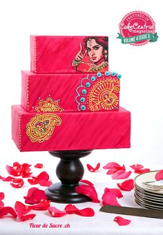 our Bollywood themed wedding cake - truly colourful