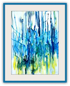 Abstract watercolor painting with or without frame, Titled 'The Highlands' blue, green and yellow