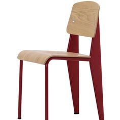 Prouve Standard Chair in Oak with Japanese Red Enamel Base