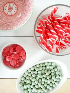 Add edible color to the table with an assortment of red and green candy. If toddlers are attending, be aware of candy size and choose easy-to-chew varieties. Mix and match white and clear bowls to accentuate the different colors and shapes.