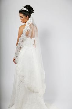 #Richard Designs C454C corded lace mantilla veil, wear this to get a similar wedding look to #NickyHiltons bridal style.