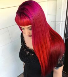 Beautiful color on recent client! Outdoor lighting. No filter ✂️ #hair #redhair #specialeffectscolor #nuclearred #atomicpink #pinkhair #purplehair #colormelt #stylist #805 #shellbeach #slo #imallaboutdahair #hairstylist #hairdressermagic #create #colorist #shearmadness13 #sugarhighstudios #longhair #firehair #sunsethair #vivids #bangs #beautiful #love