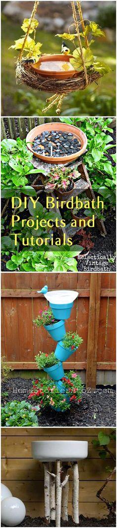 DIY Birdbath projects and Ideas. Tutorials for DIY birdbaths for your backyard. Backyard Projects, Outdoor Projects, Garden Projects, Garden Ideas, Diy Projects, Garden Crafts, Garden Art, Garden Design, Herb Garden