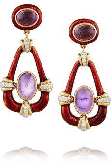 David Webb | Scroll 18-karat gold, jade and diamond clip earrings | NET-A-PORTER.COM