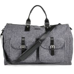 hook + ALBERT Garment Weekender Bag (€555) ❤ liked on Polyvore featuring men's fashion, men's bags, apparel & accessories, black, mens leather overnight bag, mens leather weekender bag, mens leather duffle bag, men's duffel bags and mens leather weekend bag