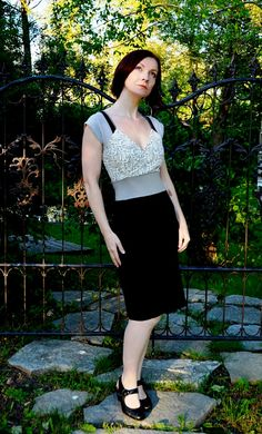 Retro Pin up Dress Grey Silver Black Cotton Knit by Embody on Etsy, $82.00