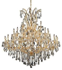 2801 Maria Theresa Collection Large Hanging Fixture D52in H54in Lt:40+1 Gold Finish. 2801 Maria Theresa Collection Large Hanging Fixture D52in H54in Lt:40+1 Gold Finish (Royal Cut Crystal) Watts:Lumens:Lamp Type:Shape:Style:TransitionalLight Bulbs:41Bulb Type:E12Bulb Wattage:40Max Wattage:1640Voltage:110V-125VFinish:GoldCrystal Trim:Royal CutCrystal Color:Crystal (Clear)Hanging Weight:223Case Pack: 1Color: Crystal (Clear)