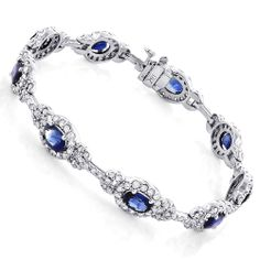 Feel and look your best wearing this Gold Ladies Blue Sapphire Diamond Bracelet showcasing carats of G/VS quality diamonds and carats of blue sapphire. This designer bracelet weighs approximately 16 grams. Black Diamond Bracelet, Sapphire Bracelet, Diamond Bracelets, Ankle Bracelets, Sapphire Diamond, Blue Sapphire, Diamond Jewelry, Bangles, Sapphire Rings