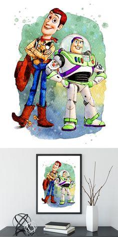 Toy Story Nursery Print, Woody & Buzz Pixar Disney print, Toy Story decor print, woody buzz lightyear flying watercolor art, boy wall art Toy Story Nursery, Toy Story Bedroom, Toy Story Movie, Toy Story Party, Story Drawing, Character Drawing, Arte Disney, Disney Art, Disney Toys