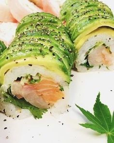 Cactus roll: fresh fish and fresh veggies are topped with a half of avocado, super refreshing, perfect for a hot summer night Windy's Sukiyaki Japanese | Sushi restaurant Ogden UTAH