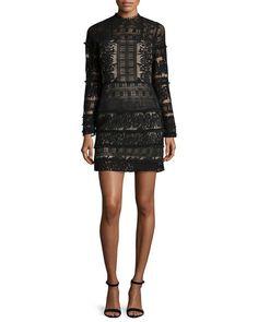 Parker Julie Lace-Combo Long-Sleeve Mini Dress, Black