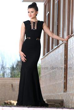 Metal Aksesuarlı Abiye Elbise