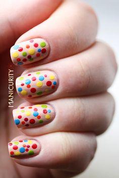 nude nails with colorful dots cuuute ; Pale Nails, Hot Nails, Hair And Nails, Dot Nail Art, Polka Dot Nails, Polka Dots, Colorful Nail Designs, Cute Nail Designs, Colorful Nails