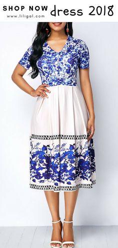 USD35.84   High Waist Zipper Back Printed Dress   #liligal #dresses