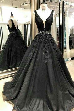 e46f7ed73f6 V-neck Black Lace Beaded A-line Long Evening Prom Dresses