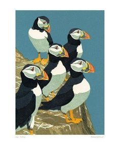 'Puffins' by Robert Gillmor The strong block colours create a striking image. This is added to by the complimentary reds and yellows of the puffin's beaks and feet against the blue sky. the focal point is repetitive.