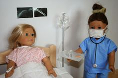 IN THE HOSPITAL How to make hospital gown wrist band doctor or nurse scrubs mask stethoscope syringe fever thermometer IV and IV stand XRay pictures and BandAids American Girl Outfits, American Girl Crafts, Ag Doll Crafts, Diy Doll, Ag Doll Clothes, Doll Clothes Patterns, Doll Patterns, Dress Patterns, American Girl Doll Hospital