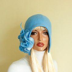 Luce blu feltro infeltrito cappello berretto di feltro cappello Cap  infeltrito… Turbante 6aa601348863