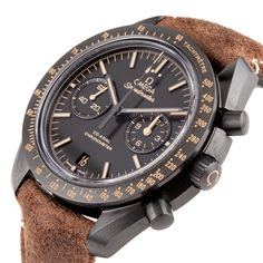 """Luxury Omega Speedmaster """"Vintage Black"""" Dark Side Of The Moon Moonwatch Co-Axial Chrono Ref. 311.92.44.51.01.006 - Pre-Owned - This Pre-Owned Omega Speedmaster Moonwatch Co-Axial Chronograph Dark Side of the Moon """"Vintage Black"""" is a special edition that was spurred by the mystique of the Earth's nightlight and its ever-changing yet constant presence. The watch features a 44.25mm black ceramic case with """"vintage"""" Super LumiNova tachymetric scale on its bezel. This same """"vintage"""" Super…"""