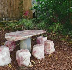 Rose Quartz Faerie table at home in the Crystal Castle gardens! Who would you sit here with? Crystal Furniture, Crystal Castle, Crystal Box, Crystal Aesthetic, Crystal Garden, Crystals In The Home, Crystal Decor, Outdoor Living, Outdoor Decor