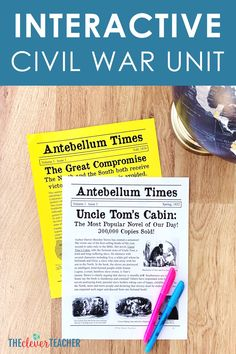 Bring Civil War history to life for kids with this interactive unit complete with lesson plans, activities, projects, and answer keys! Help your students fall in love with history! These lessons and projects are especially great for kids in 5th grade, 6th grade, 7th grade, and 8th grade. #5thGrade #MiddleSchool #Interactive 7th Grade Social Studies, Social Studies Lesson Plans, Social Studies Activities, Teaching Social Studies, Middle School Us History, Teaching Us History, History Classroom, Teacher Resources, Teaching Ideas