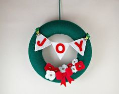 Joy Christmas Wreath, Door Wreath, Christmas Wreath, Felt Decoration, Christmas Decor, Christmas Decoration, Handmade Christmas Decoration,