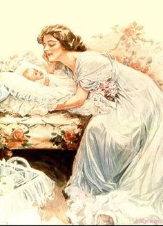 Birth Announcement by American illustrator Harrison Fisher (1877-1934).
