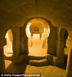 The subterranean city dates back to around 5,000 years and was discovered when builders saw signs of a massive network of tunnels while moving mounds of Earth. Pictured are walkways in theDerinkuyu Underground city, which is in the same region, but smaller than the new find