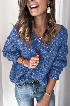 Womens Sequins Loose Sweaters, Ladies Casual Long Sleeve V-Neck Knit Pullover Solid Oversized Sweatshirts Tops Sweater Sale, Loose Sweater, Cozy Sweaters, Long Sleeve Sweater, Bleu Violet, Warm Outfits, Pullover, Sweater Fashion, Pulls