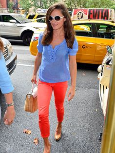 Continuing her tour of New York, Pippa Middleton stands out in a splashy ensemble while making her way through the Big Apple on Wednesday.