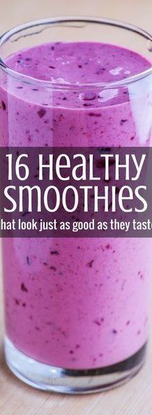 16 Healthy Smoothies That Look As Good As They Taste | Healthy Smoothie Recipes | Weight Loss Smoothies, Healthy Smoothies, Healthy Drinks, Healthy Snacks, Diet Drinks, Smoothie Diet, Clean Eating Recipes For Dinner, Healthy Dinner Recipes, Smoothes Recipes