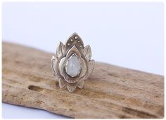 Moonstone Lotus Ring: Sterling silver ring - Hand forged ring - Unique lotus flower - Statement ring - Yoga jewelry - Moonstone jewerlry by AnniamAeDesigns on Etsy
